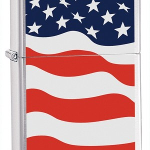 Zippo Brushed Chrome American Flag Lighter