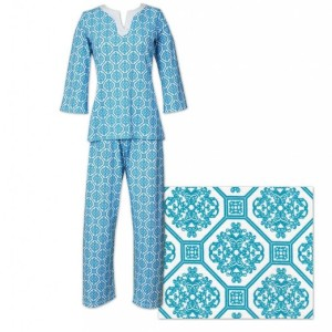 The Cat's Pajamas Blue Arcadia Women's Knit Tunic Pajama Made in America