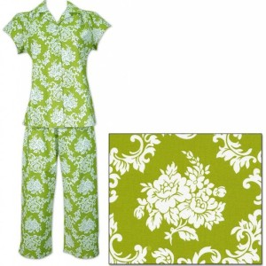 The Cat's Pajamas Leaf Damask Women's Cotton Capri Pajama Made in America