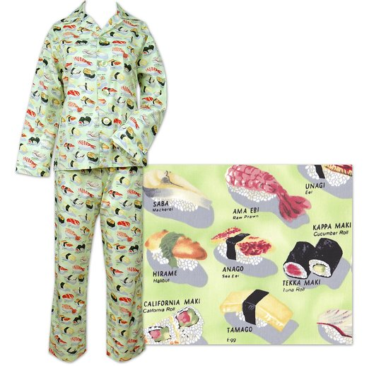 The Cat's Pajamas Women's Wasabi Sushi Cotton Flannel Pajama American Made