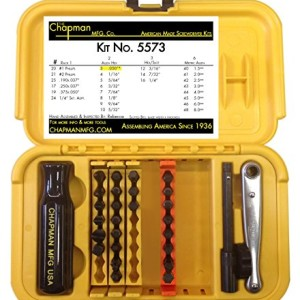 Chapman MFG 5573 SAE & Metric Allen Hex Mini Ratchet & Screwdriver Set Made in America
