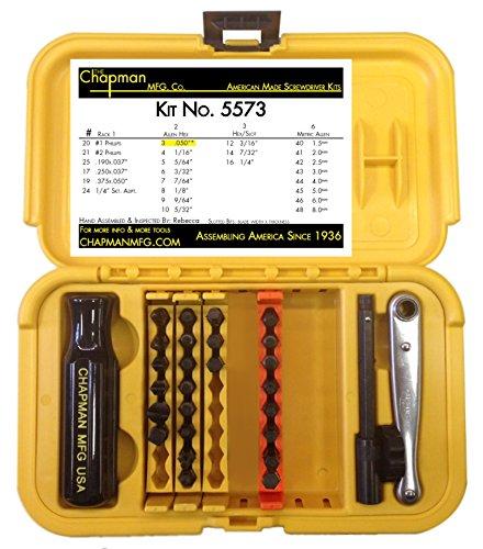 chapman mfg 5573 sae metric allen hex mini ratchet screwdriver set buy usa made stuff. Black Bedroom Furniture Sets. Home Design Ideas