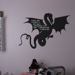 Dragon FUN Removable Peel and Stick Chalkboard with Chalk Amercian Made
