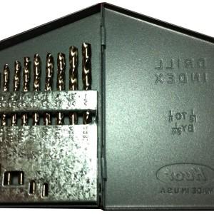 Kodiak USA Made Cobalt Drill Set 1/16-1/4 X 64ths Size Range Jobber Length - Heavy Duty 135 Deg.Split Point M42 Cobalt Material Straw Finish Drill Set