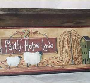 Wood Wall Shelf Primitive Black Plate Rack Home Decor Kitchen Faith Hope Love Made in America