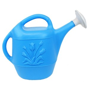 Blue 1 Gallon Plastic Watering Can: Union Products Tulip Design - Made in America