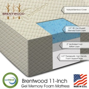 "Brentwood 11"" Gel Infused HD Memory Foam Mattress - 100% Made in America"