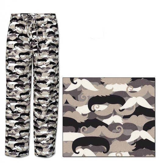 The Cat's Pajamas Men's Mustache Cotton Pajama Pants American Made
