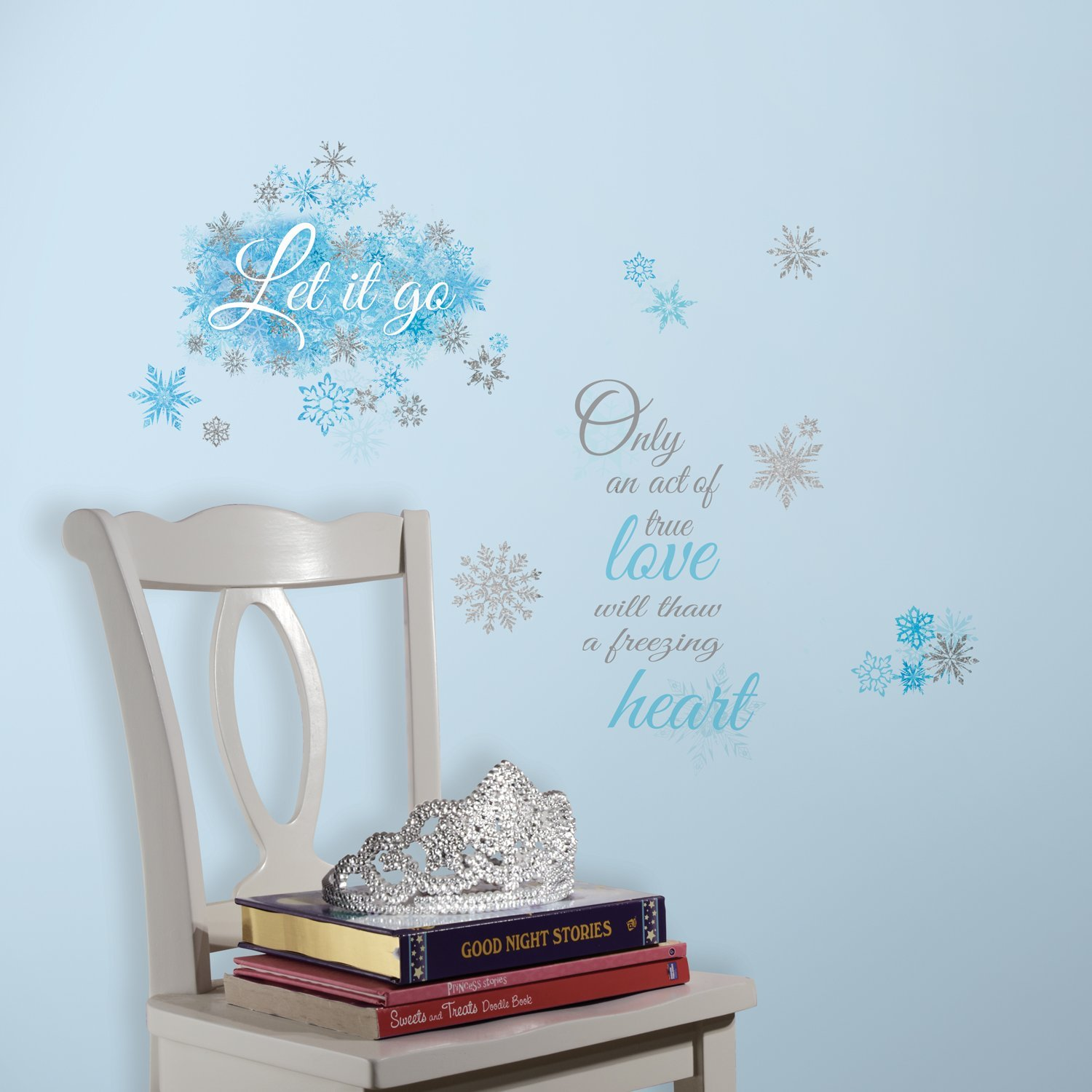 roommates frozen let it go peel and stick wall decals. Black Bedroom Furniture Sets. Home Design Ideas