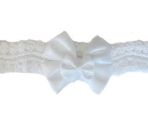 Beautiful White Lace Headband with Double Bow American Made
