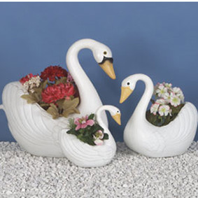 White Swan Planter 3 piece Set: Classic Union Products Yard Decorations - Made in America