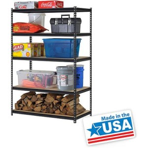 "Edsal 48""W x 24""D x 72""H 5-Shelf Steel Shelving, Black, American Made"