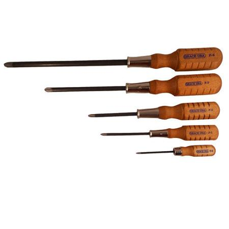 grace usa tools 5 piece phillips screwdriver set buy usa made stuff. Black Bedroom Furniture Sets. Home Design Ideas