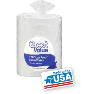 "Great Value 8.875"" Soak Proof Foam Plates - American Made"