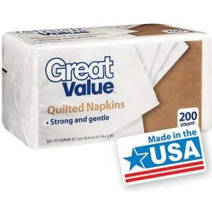 Great Value Quilted Napkins, 200 ct - Made in America