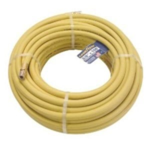 "Rubber Air Hose, 3/8"" I.d. X 100 Ft, 1/4"" Npt Male Fittings, 250 Psi, Yellow, Made In U.s.a."