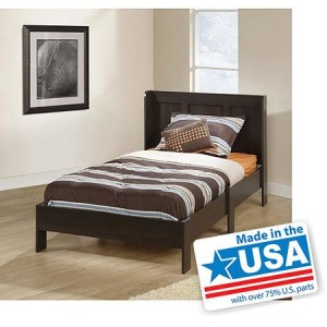 Sauder Parklane Twin Platform Bed with Headboard, Cinnamon Cherry - Made in America