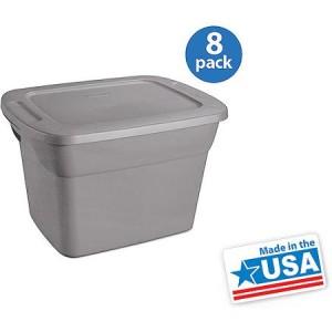 Sterilite 18 Gallon Tote Box- Steel, Set of 8 - American Made