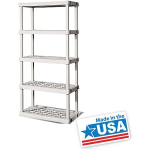 Sterilite 5 Shelf Unit- Light Platinum - Made in America