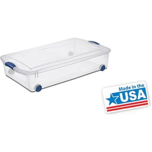 Sterilite 12.5-Gallon (50-Quart) Wheeled Latch Box, Blue, Set of 4 - Made in America