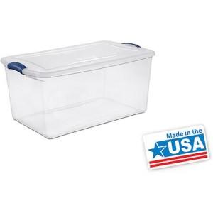 Sterilite 66 Quart Latch Box- Blue Eclipse, Set of 6 - American Made