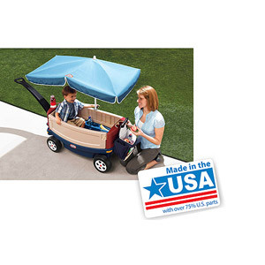 Little Tikes Deluxe Ride and Relax Wagon with Umbrella - American Made