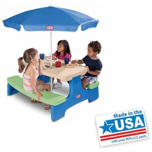 Little Tikes Easy Store Picnic Table with Umbrella - Made in America