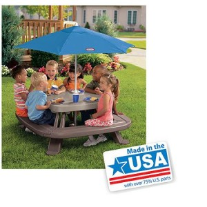 Little Tikes Fold 'n Store Picnic Table with Market Umbrella - Made in America