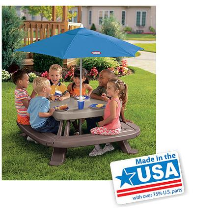 Little Tikes Fold 'n Store Picnic Table with Market Umbrella | Buy USA Made Stuff