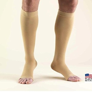 Wellko USA Made Open Toe Compression Socks Stockings 20-30mmHg Below Knee Beige