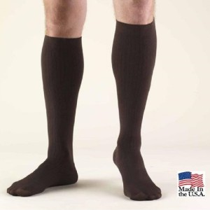 USA Made Wellko Men's Compression Rib-Knit Over-The-Calf Dress Sock